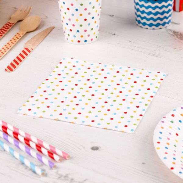 Carnival Multi Coloured Napkins - Dots (20)